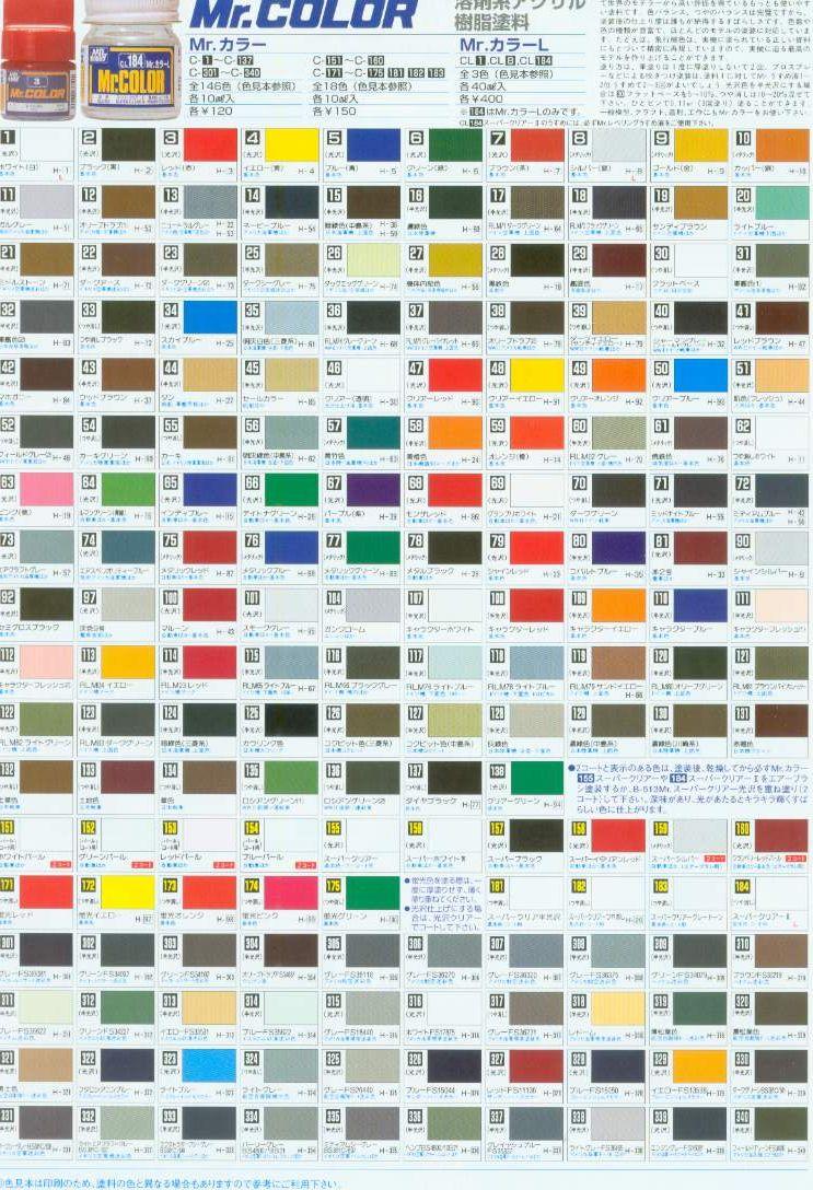 俊仕油性漆顏色表格(參考用請勿購買)