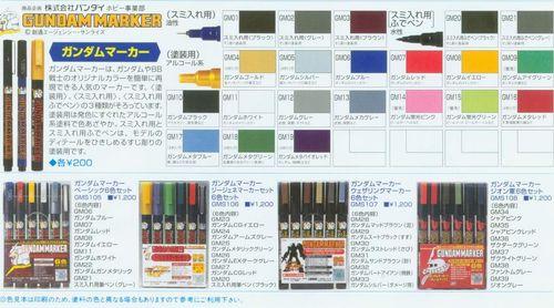 俊仕鋼彈筆顏色表格(參考用請勿購買)
