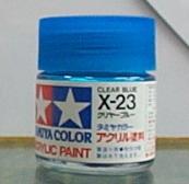 田宮水性漆 X-23 透明藍色(亮光)